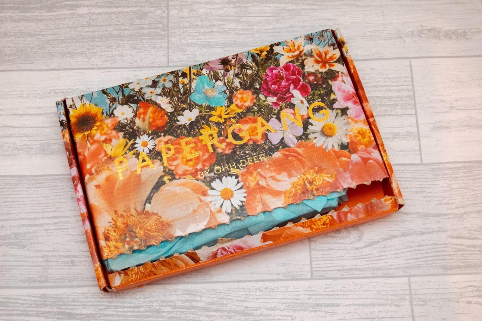 A retro floral postbox sized cardboard box.