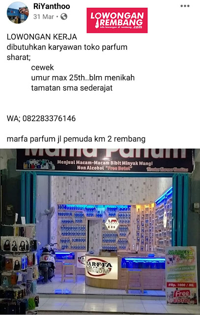 Lowongan Kerja Pegawai Toko Marfa Parfum Rembang