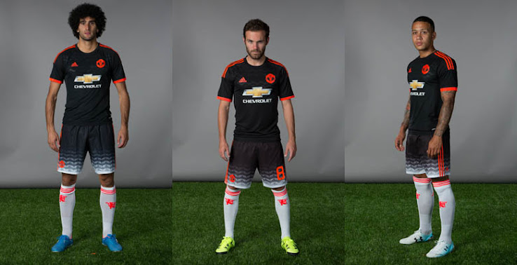 b85c5e92 Whereas the new Manchester United 2015-16 Home and Away Shirts boast  classic, 1980s-inspired designs, the Adidas Man United Third Kit comes with  a striking ...