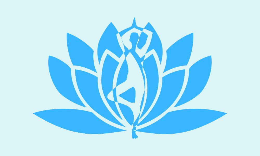 Mulher em pose de yoga entrelaçada a flor de lótus