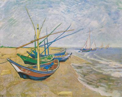 """""""Barcos de Pesca na Praia de Saintes-Maries"""" (1888).  Pintura de Vincent van Gogh (1853-1890) exposta no Van Gogh Museum em Amsterdã, na Holanda.  [Texto publicado originalmente no grupo da Suno Research no Facebook em 15 de dezembro de 2017.]"""