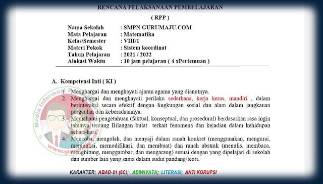 Download RPP Anti Korupsi SMP Kelas 8 Mapel Matematika Terbaru