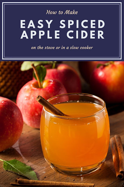 How to make an easy hot apple cider with spices. Make this spiced cider from scratch with the stove or a crockpot or slow cooker. This is the best warm drink for fall! Serve this homemade recipe for mulled apple cider instead of punch at a party.  DIY easy drinks for a crowd or just for one.  Store leftovers in the fridge for a week. #applecider #fall #drink #apples