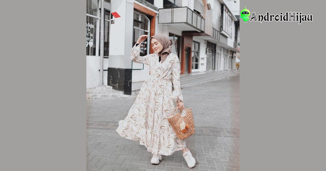model gamis vintage flower ala korea ootd