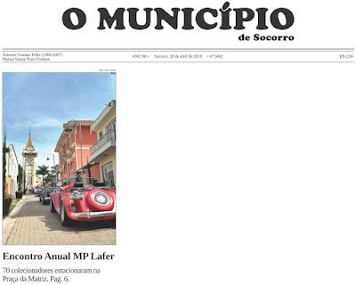 Novamente o MP Lafer ganha a primeira página do principal jornal de Socorro.