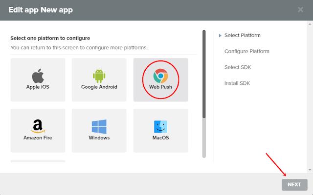 Select Web Push & click Next