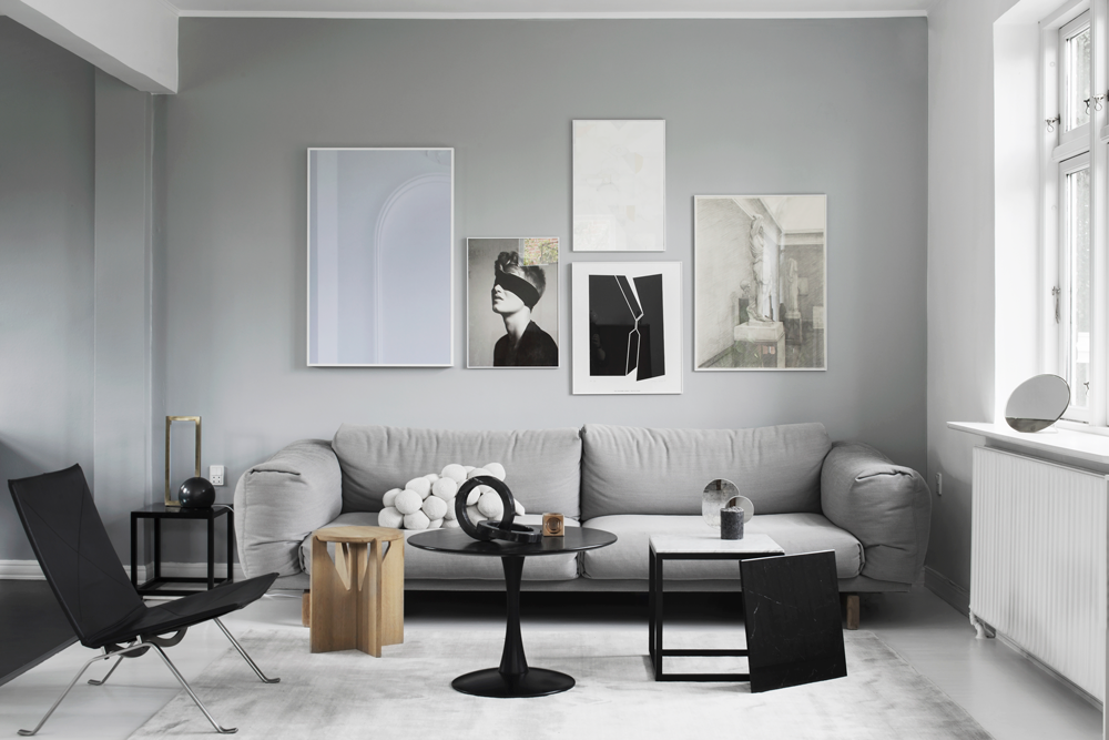 Houme of designer Kristina Dam, PK22 chair, gray sofa