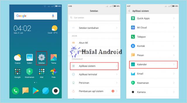 Pengaturan Aplikasi Kalender Xiaomi