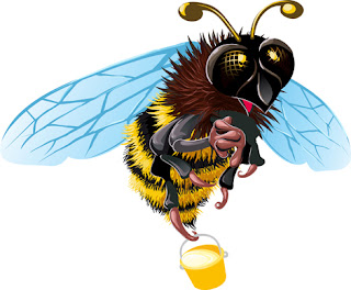 Clipart image of a bee carrying a pot of honey
