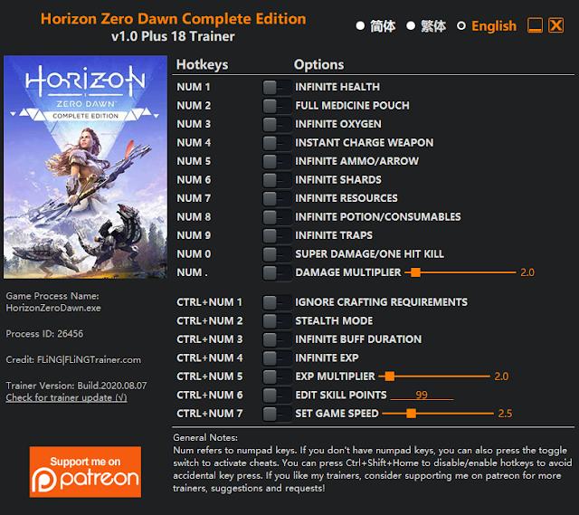 Trainer game Horizon Zero Dawn PC
