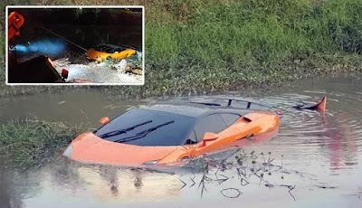 Gambar Lamborghini Aventador nyempulng di sungai