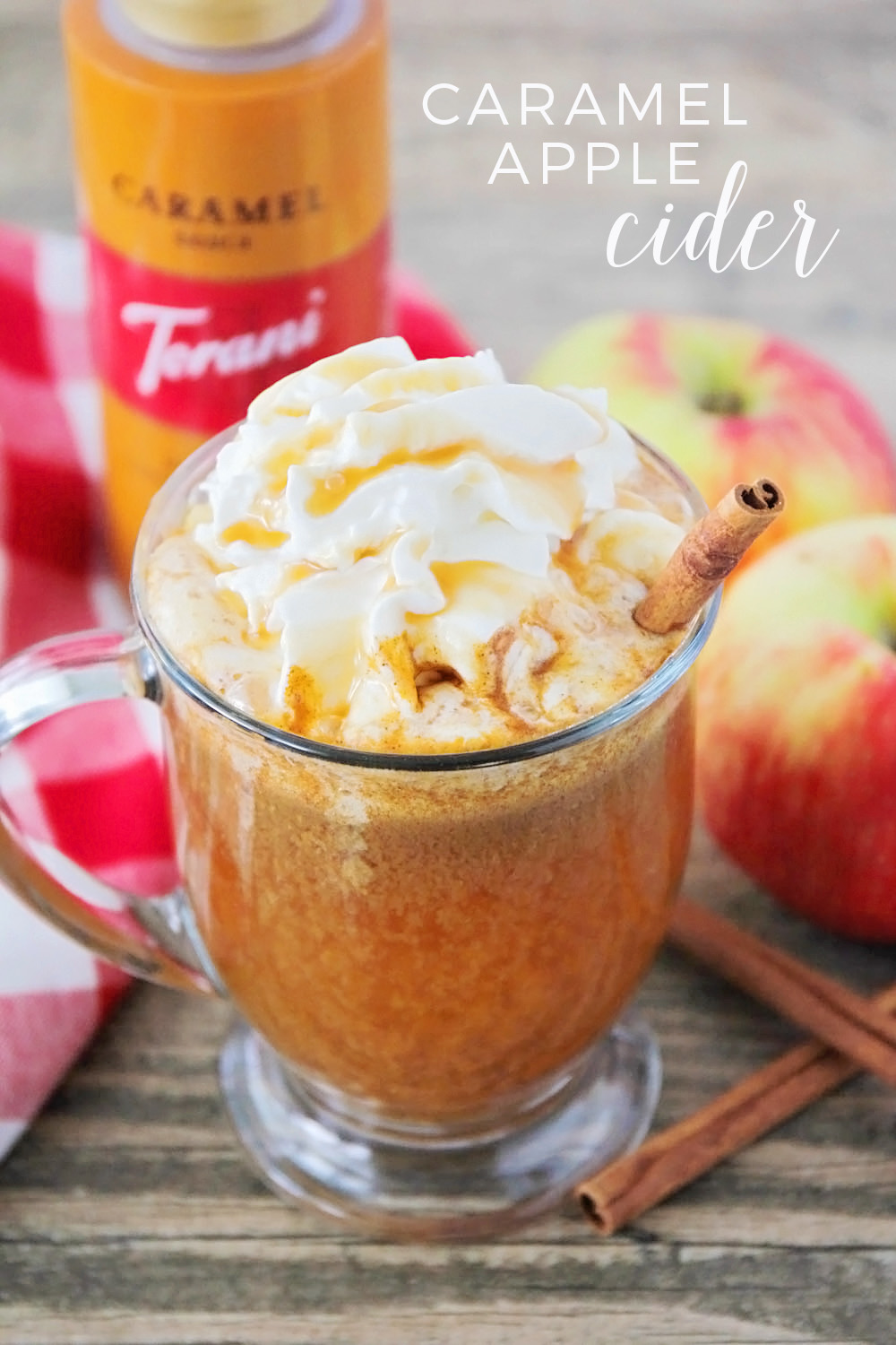 This caramel apple cider is full of delicious fall flavors! The perfect drink to cozy up with this season.