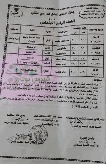 جدول امتحان الصف الرابع 2018 آخر العام محافظة الشرقية