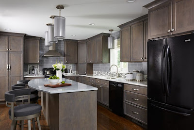 Enchanting timeless kitchen style ideas with gray backsplash tiles brown cabinets and white countertops