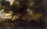 Idylls of War by Antoine Watteau - Battle, History Paintings from Hermitage Museum
