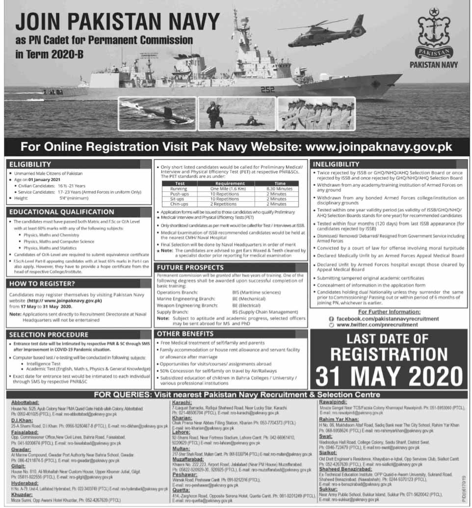 Jobs in Pakistan Navy for Permanent Commission