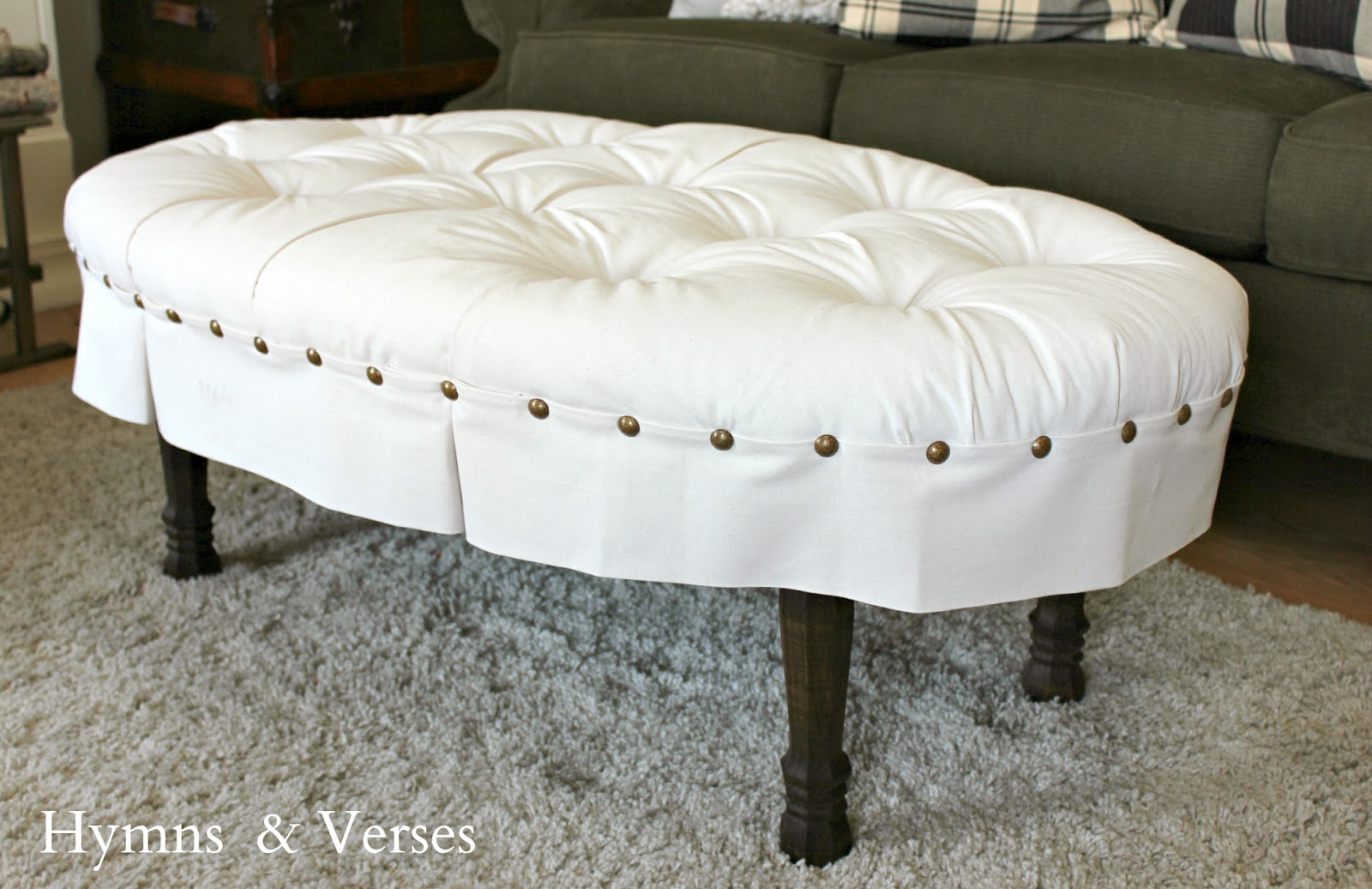 Hymns and Verses: DIY Oval Button Tufted Ottoman