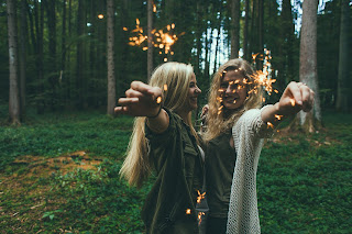 girls with sparklers