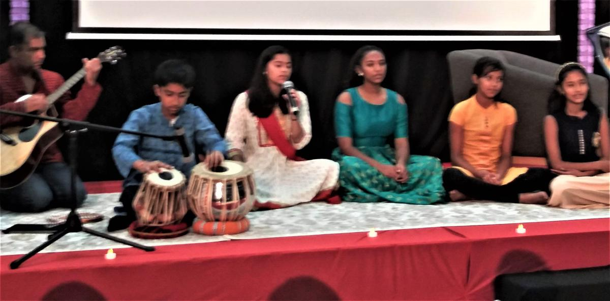 Several students of the Gayatri Parivar performed two mantras at the Hindu Community Institute's inaugural graduation ceremony, held Aug. 18 in Milpitas, Calif.