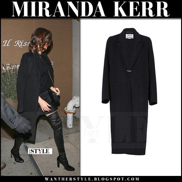 Miranda Kerr in black coat acne foin and black boots what she wore