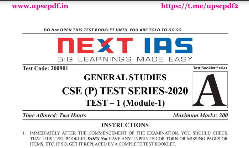 Next IAS UPSC Prelims 2020 Test 1