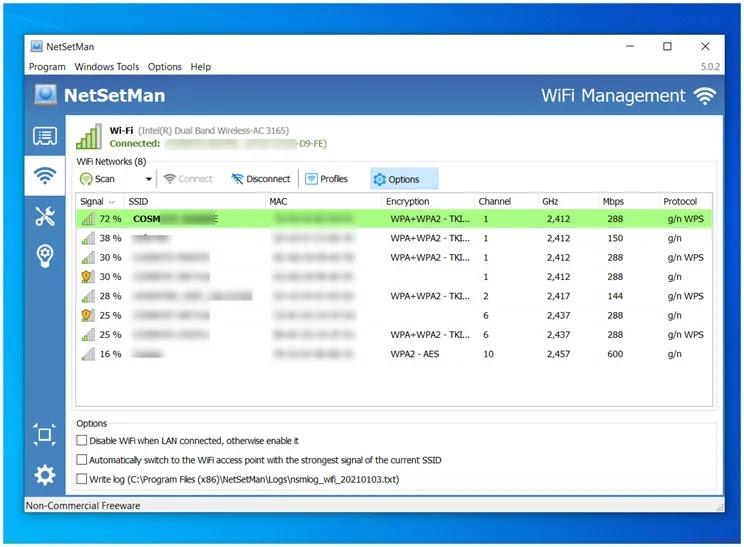 NetSetMan : Επιλέξτε  προρυθμισμένα προφίλ για το δίκτυό σας