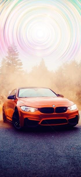خلفية سيارة بي ام دبليو ام 3 برتقالية