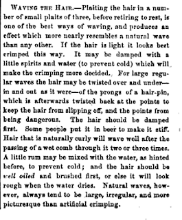 Technique for waving hair, 1864, from The Lady's Friend.