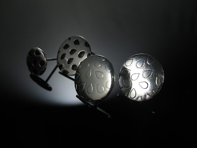 electro etched sterling silver using silver nitrate earrings.  Mix and match set of 4 earrings with dew drop design cut in vinyl with Silhouette Cameo as a resist.  Tutorial by Nadine Muir for Silhouette UK