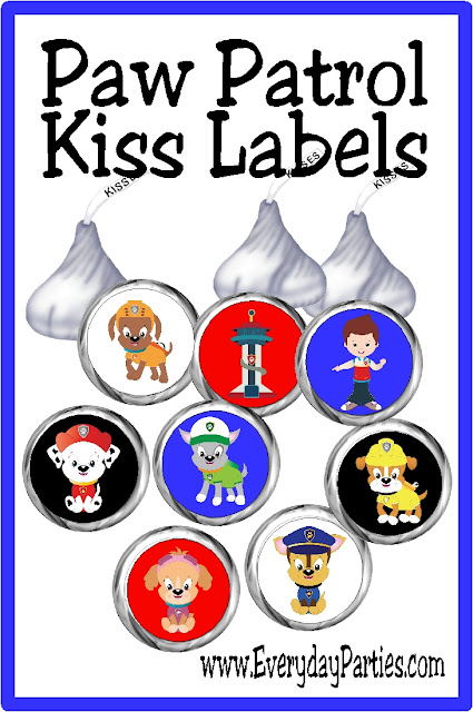 Bring a little fun and chocolate kisses to your Paw Patrol party with these Hershey kiss printable labels. These chocolate candies make a great party favor or dessert for your treats table. #pawpatrol #partyprintable #kisslabel #chocolate #partyfavor #diypartymomblog