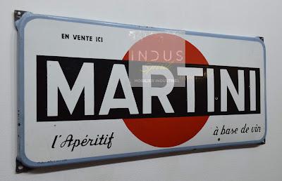 Plaque publicitaire émaillée Martini