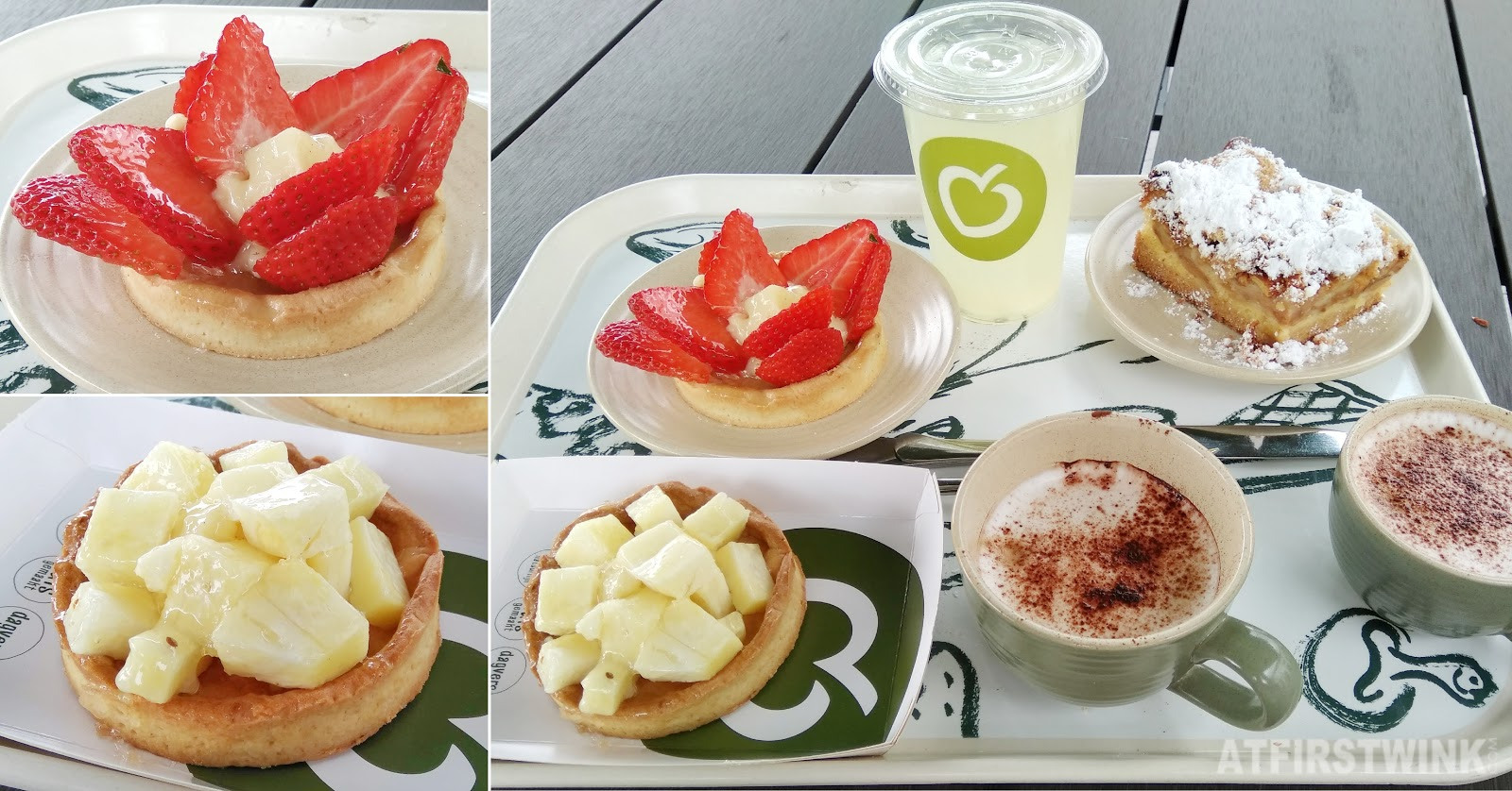 La Place Rotterdam homemade lemonade cappuccino pineapple strawberry tart apple crumble cake
