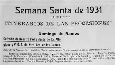 Asi era el Itinerario de la Semana Santa de Cádiz del 1931