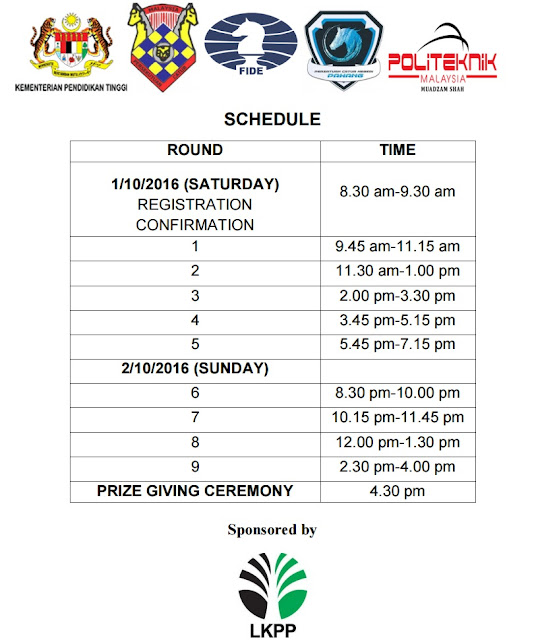 Jadual Pertandingan Rompin International Chess Open - PMSICO 2016 (FIDE RAPID RATED)