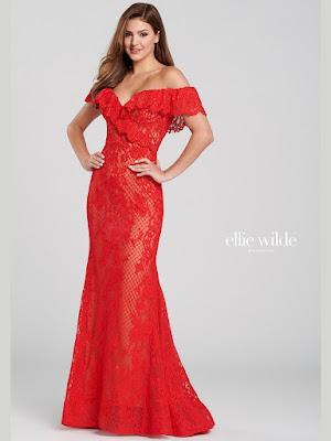 Ellie Wilde Off-shoulder Red Color Prom dress