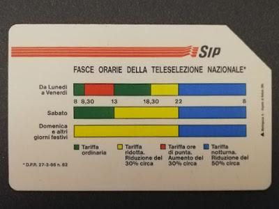 Carta (o scheda) telefonica SIP dedicata alle fasce orarie