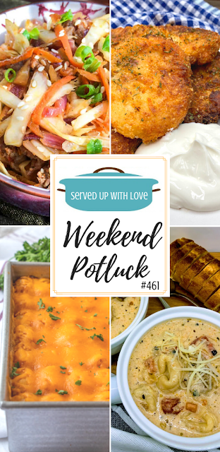 Weekend Potluck featured recipes include Mashed Potato Cakes, Egg Roll in a Bowl, Slow Cooker Sausage Tortellini Soup, Chili Tater Tot Casserole