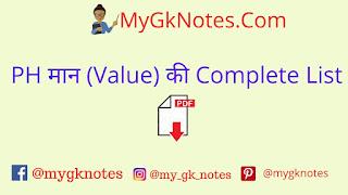 PH मान (Value) की Complete List