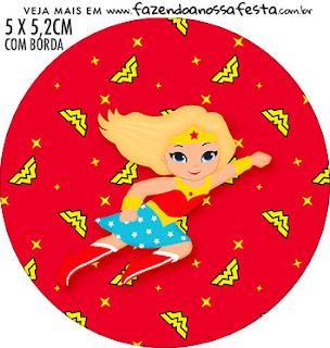 Blondie Wonder Woman Free Printable Cupcake Wrappers and Toppers.