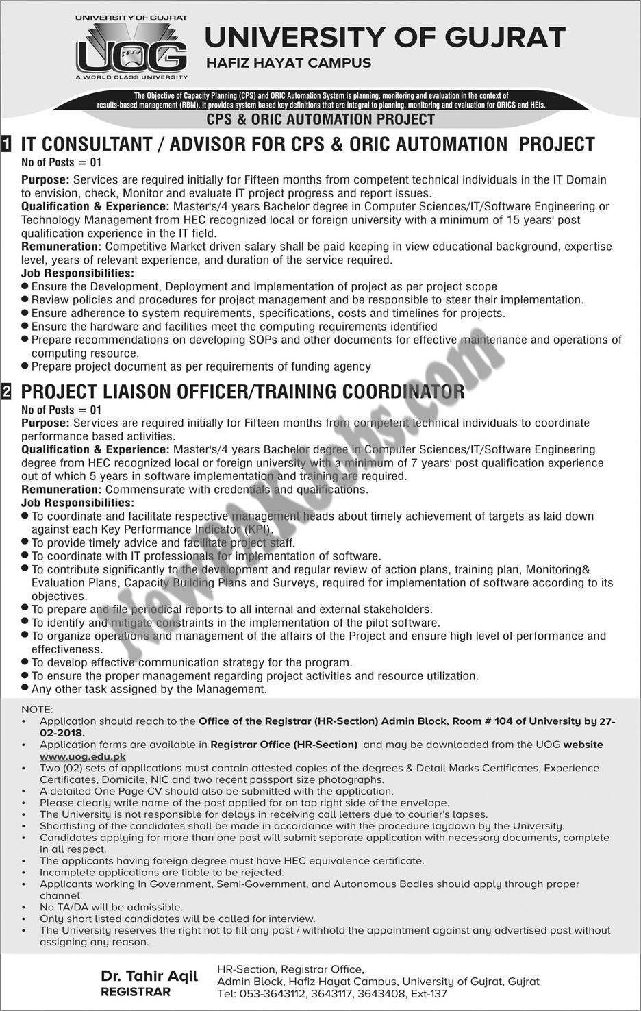 Latest Jobs in University of Gujrat, Hafiz Hayat Campus, 2018 New Govt Jobs Advertisements