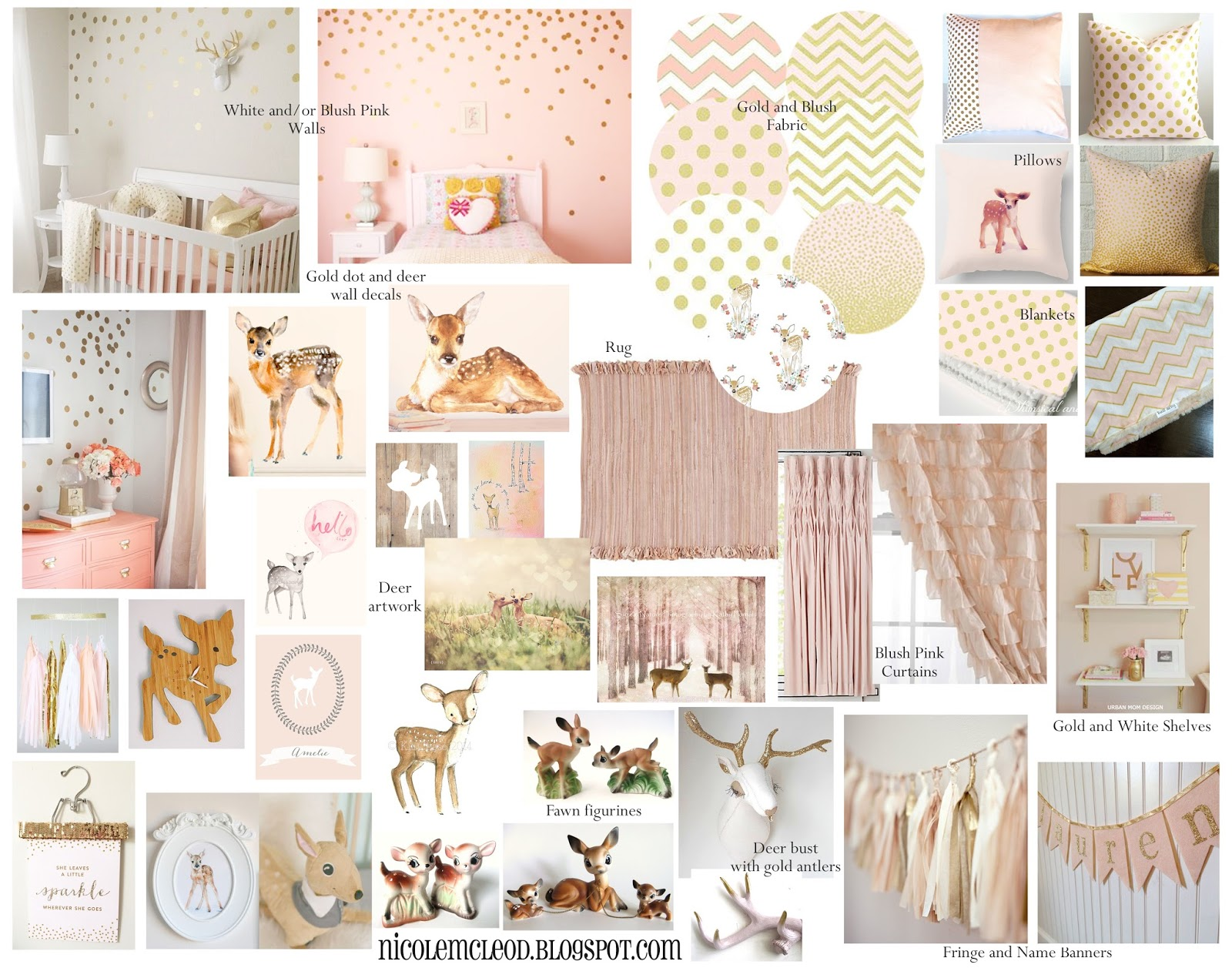 Finding Beauty In Life Blush Pink And Gold Baby Deer