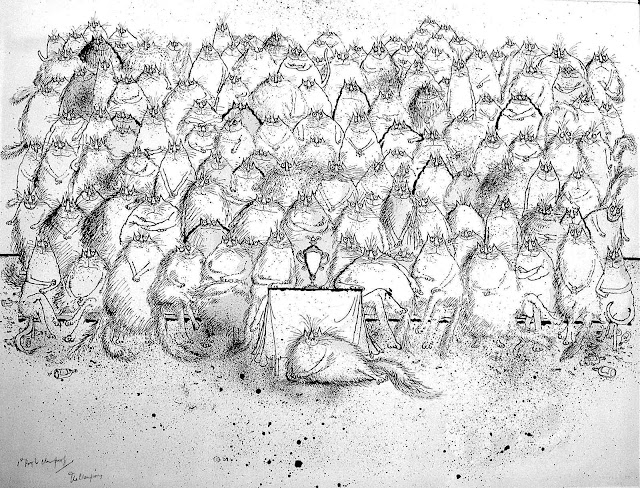 Ronald Searle, a large group of cats in a group photograph