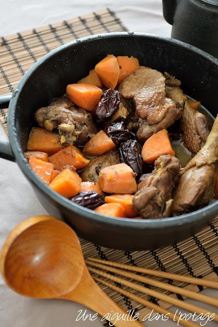 Canard aux patates douces et jujubes, cuisine asiatique