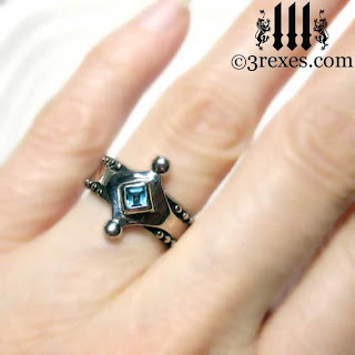 Majestic Medieval Wedding Ring with blue topaz