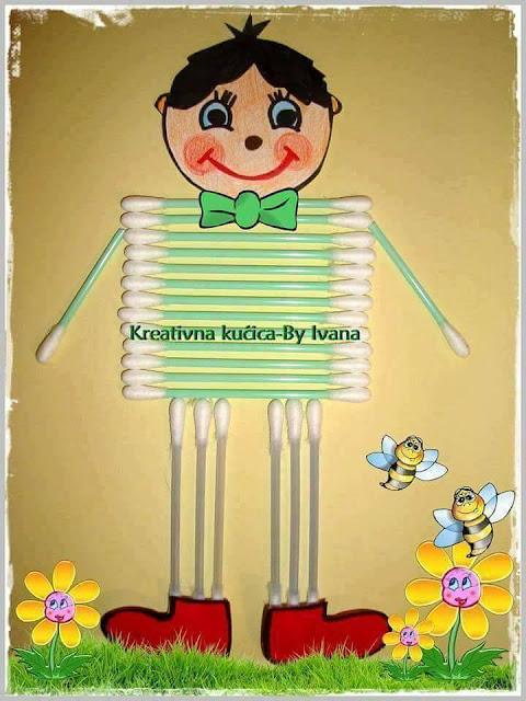 Ide membuat kreasi berbentuk anak laki-laki menggunakan cottonbud untuk anak-anak