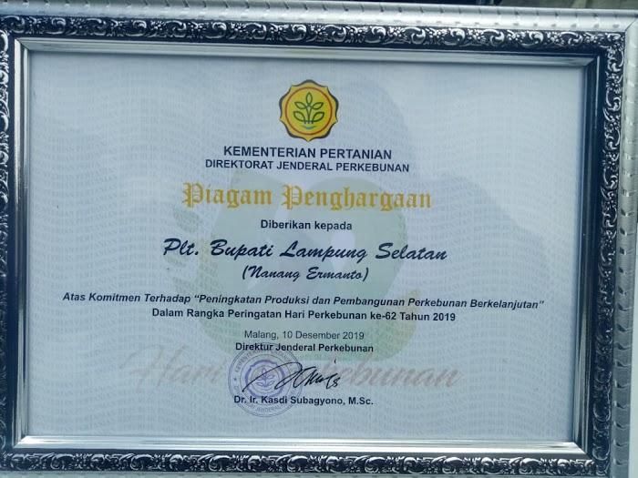 Plt.Nanang Ermanto Dapat Penghargaan Dari Kementan Direktorat Jenderal Perkebunan