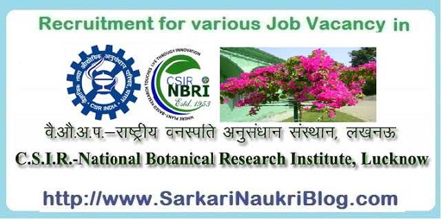 Sarkari Naukri Vacancy Recruitment NBRI Lucknow