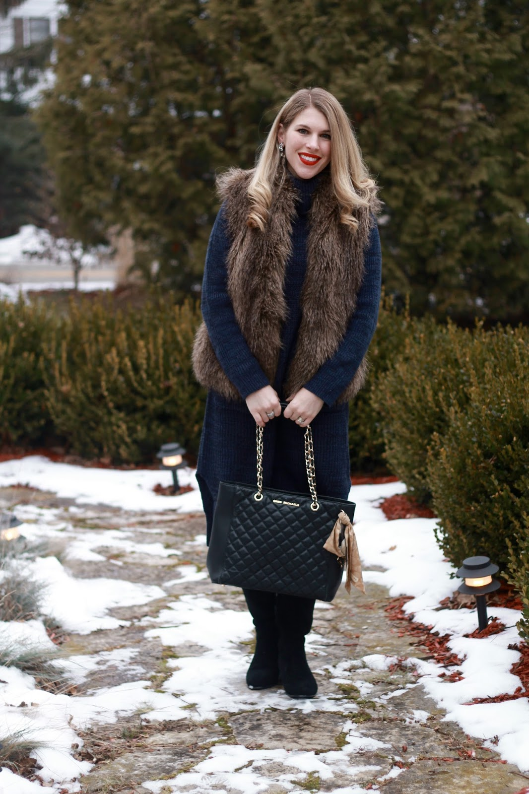 sweater dress, Romwe Navy Sweater Dress, fur vest, black OTK boots, black quilted tote