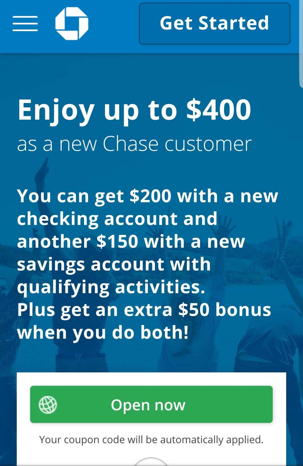 Chase 400 Bonus
