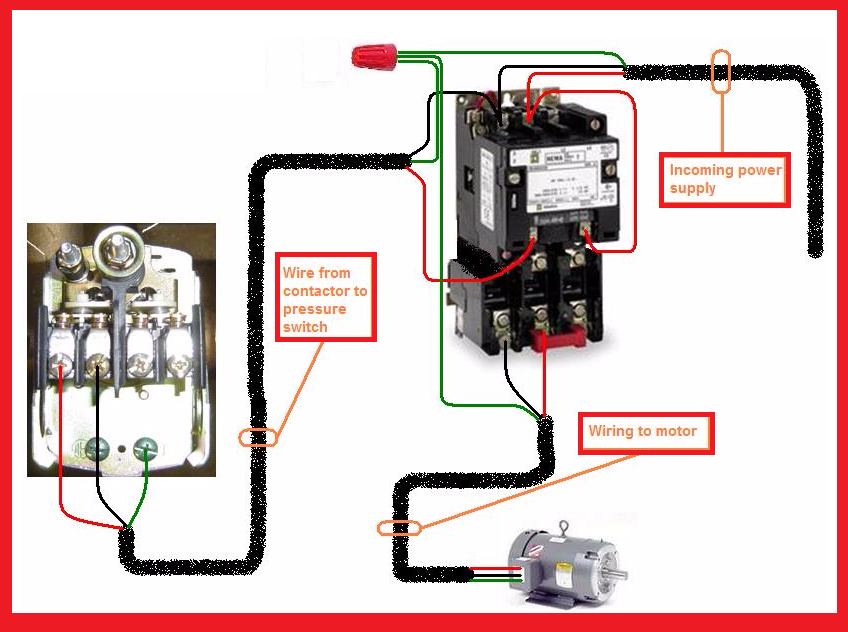 Electric Motor Wiring Diagram 3 Phase : Single phase motor contactor wiring diagram